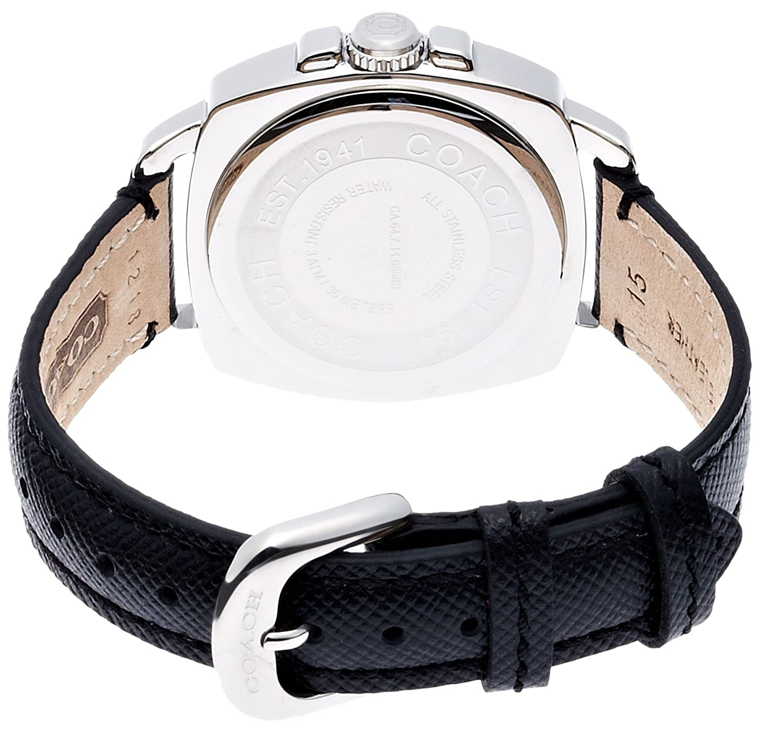 Coach Womens Mini Boyfriend 14501789 Black Leather Strap Rubber Watch Authentic Glitz Watches