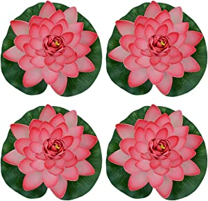 Famgee 7 Inches Artificial Lifelike Floating Foam Lotus Flower Water Lily for Garden Pond Decor, Set of 4 (Peach)