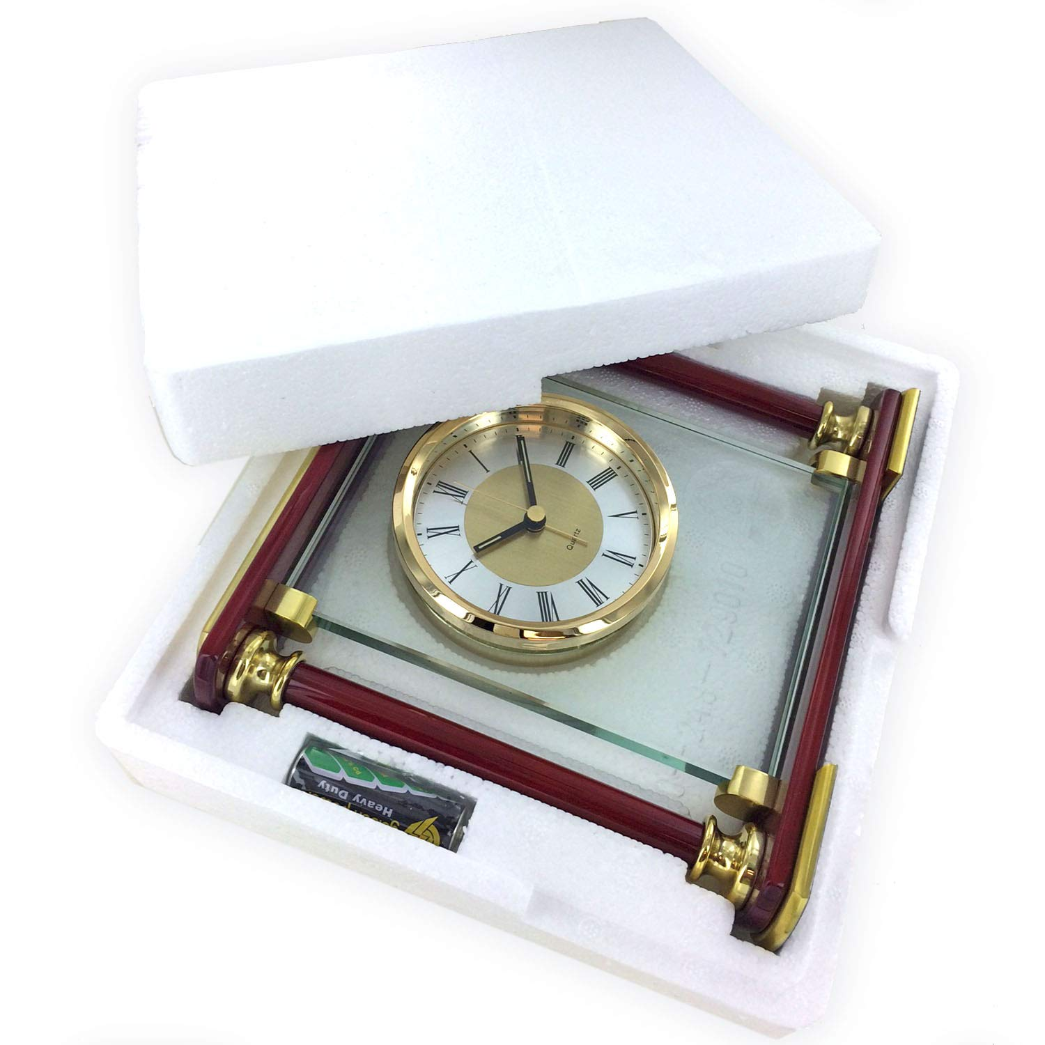Mantel Quartz Alarm Clock in Piano Rosewood Finish and with Solid Brass Trim Awards And Gifts R Us GF5417