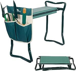 LUCKYERMORE Garden Kneeler Seat Gardening Stool Bench Kneeling Pad with Handles Garden Tools Soft Foam Protect Knee with Tool Pouch