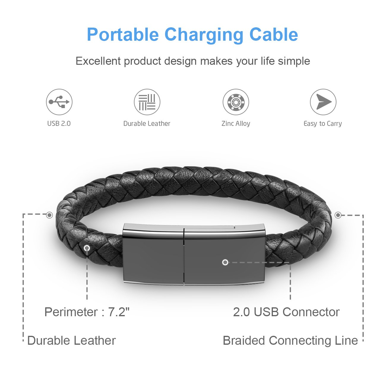 Auzev Braided Bracelet Lightning Cable Data Wrist Charging Cord for iphone-Leather USB Charging Cuff for iphone Plus X iPAD (Black, M(7.2\