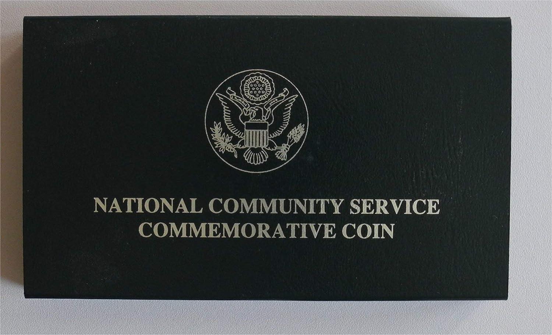 1996 US Mint National Community Service Silver Dollar BU Coin Set Box and COA