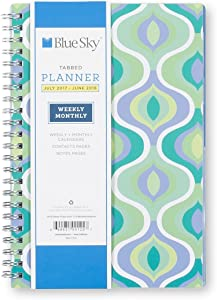 """Blue Sky 2017-2018 Academic Year Weekly & Monthly Planner, Twin-Wire Bound, 5"""" x 8"""", Boca"""