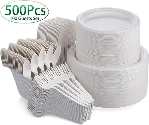 Fuyit 500 piezas Vajilla desechable, vajilla compostable de caña ...