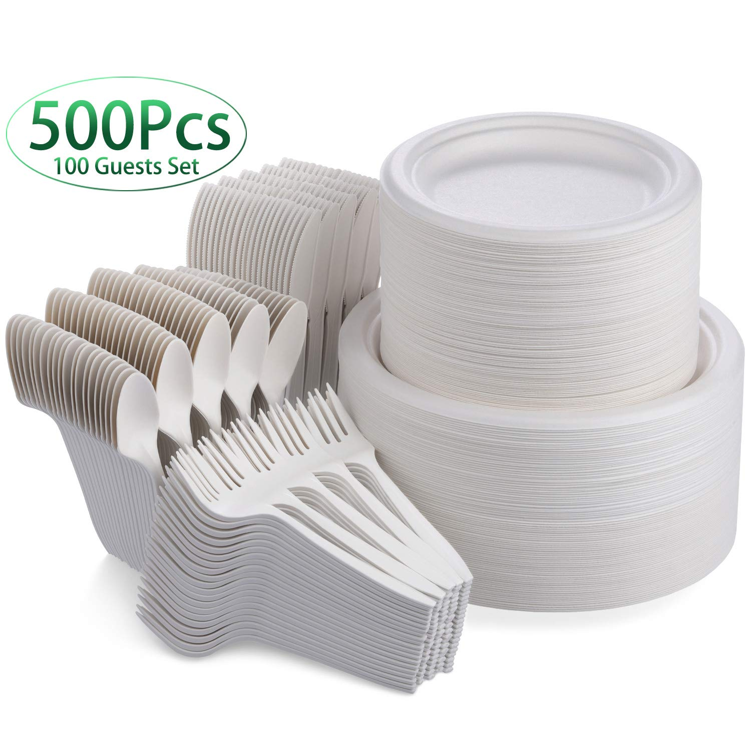 Fuyit 500Pcs Disposable Dinnerware Set for 100 Guests, Compostable Sugarcane Cutlery Eco-Friendly Tableware Includes Biodegradable Paper Plates, Forks, Knives and Spoons for Party, BBQ, Picnic (White) by Fuyit