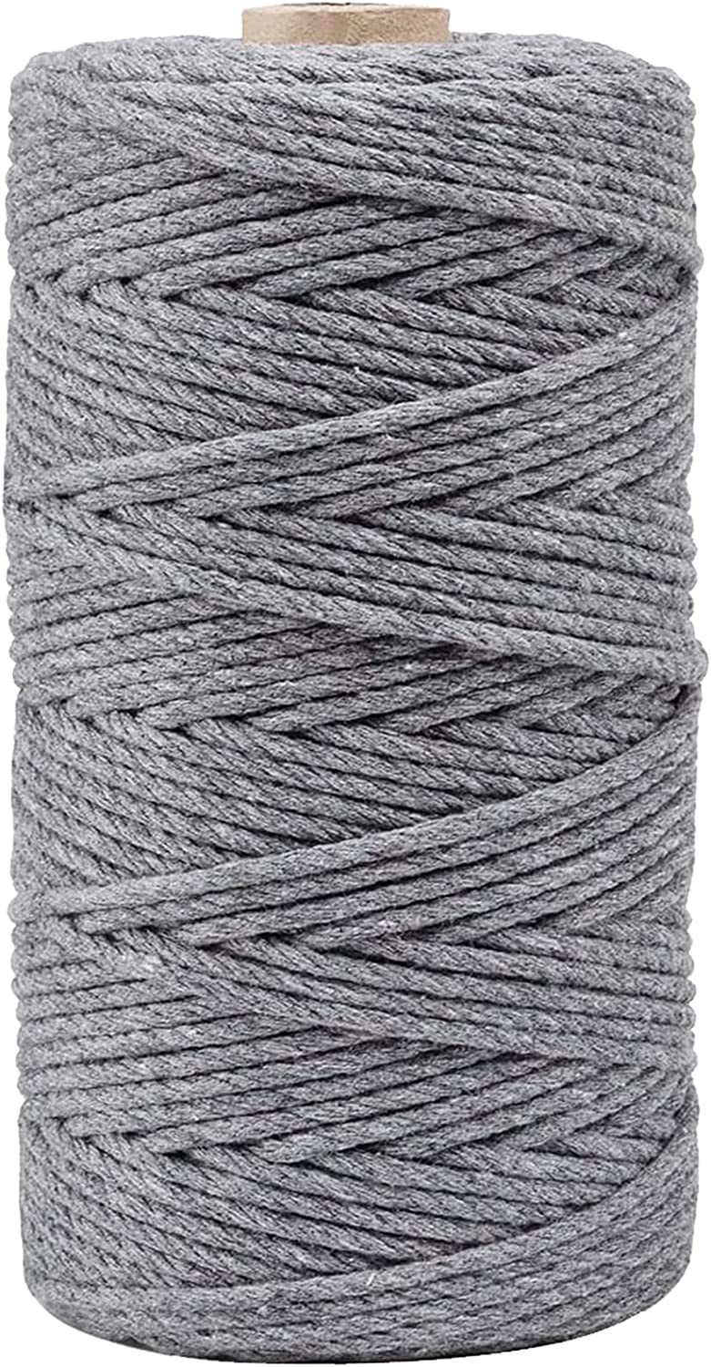 JAMYOK 100% Natural Macrame Cotton Cord,3mm x 109 Yards 4 Strand Twisted Cotton Rope Macrame Yarn for Wall Hanging, Plant Hangers,DIY Crafts, Christmas, Wedding Décor (3mm x 109yards, Gray)