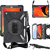 ZenRich iPad 10.2 Case, iPad 8th/ 7th Generation Case with Screen Protector Pencil Holder Kickstand Hand Strap and Shoulder S