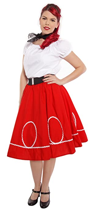 50s Skirt Styles | Poodle Skirts, Circle Skirts, Pencil Skirts 1950s Red & White Circle Swing Skirt - Retro Ric Rac Trim Rockabilly Twirl - S to XL $34.50 AT vintagedancer.com