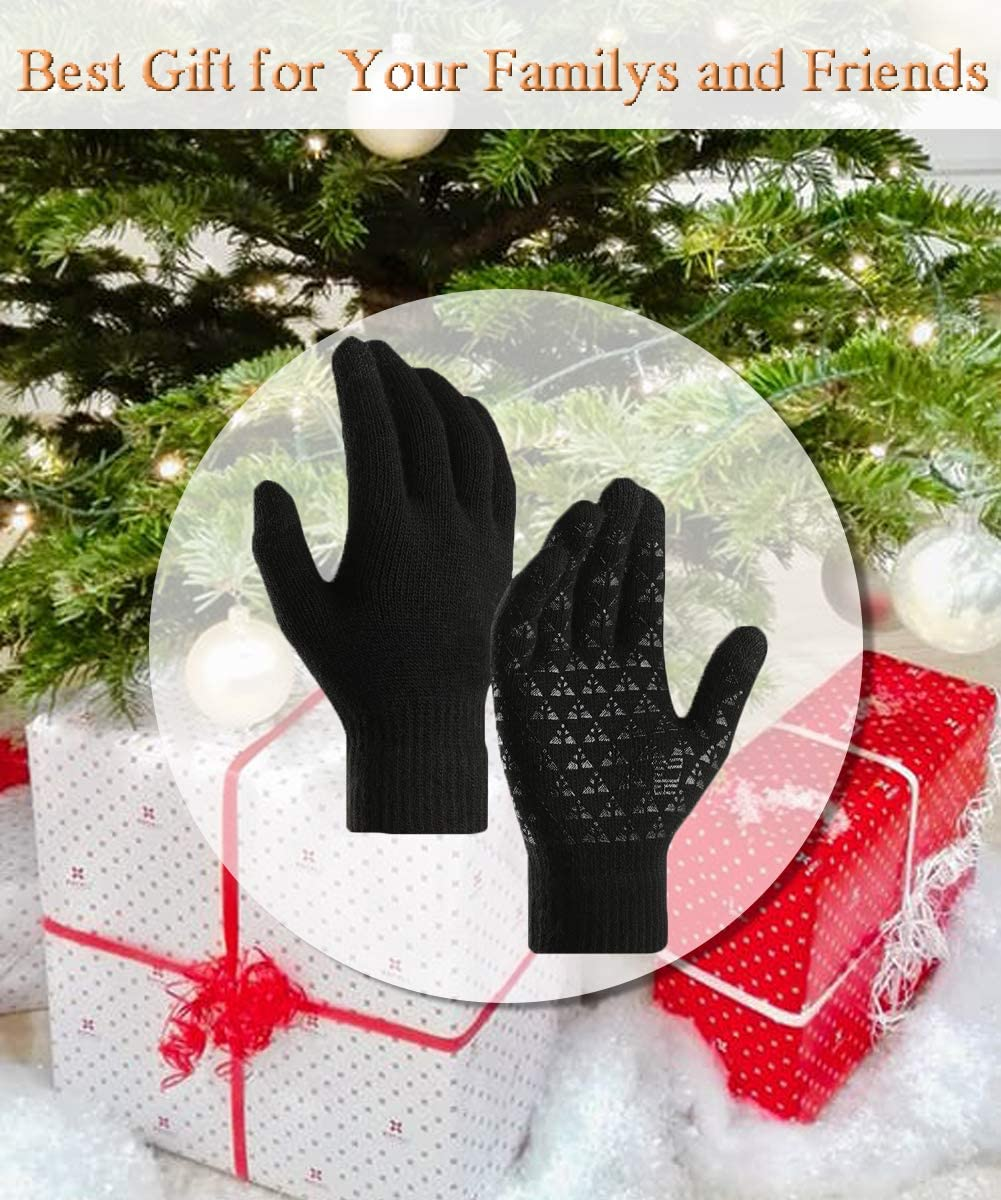 T WILKER Winter Touchscreen Gloves for Women and Men Warm Thermal Soft Lining Texting Elastic Cuff Knit Wool Anti-Slip Stretchy Material