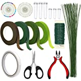 Floral Arrangement Kit, WEST BAY 17Pcs Flower Tools Include Floral Wire Cutter Scissor Floral Tape 22 Gauge Paddle Wire…