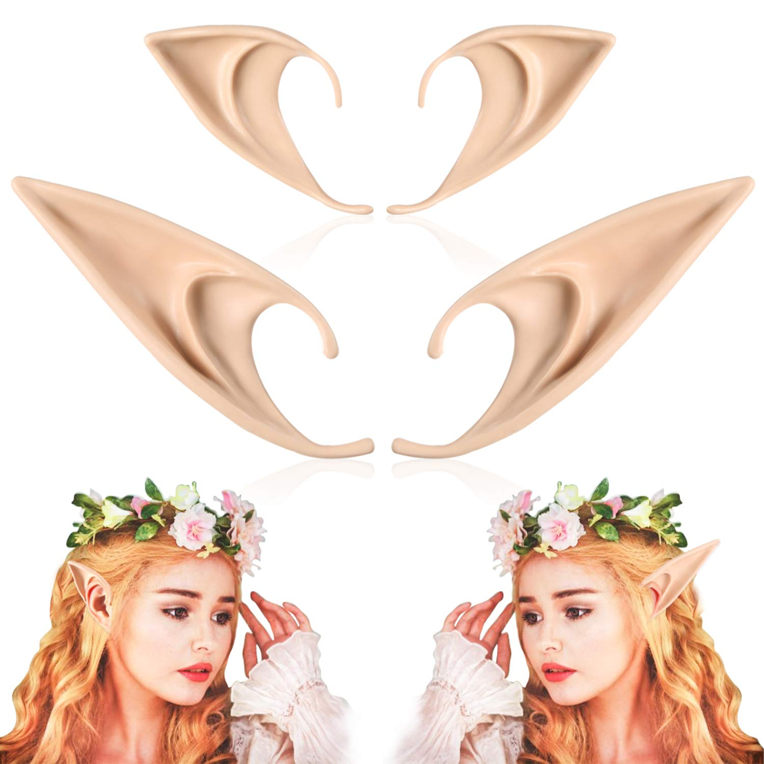 Skylety 4 Pieces Elf Ears 1 Piece Jewelry Head Chain 1 Piece Flower Wreath Headband for Halloween Party Props Dress Up Costume Cosplay Accessories