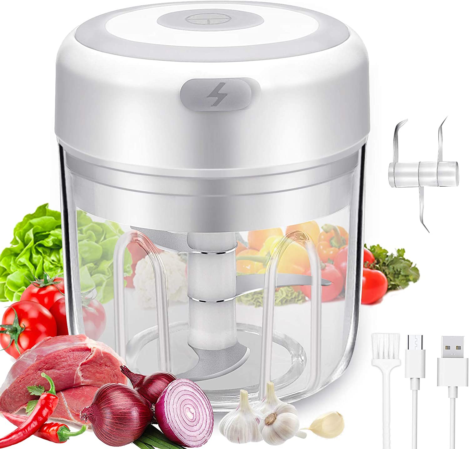 Electric Mini Garlic Chopper - Handheld Wireless Mincer Electric Food Chopper - Chopper Blender Food Processor for Pepper Chili Veggies Nuts Meat