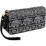 Bohemian Purse Wallet Canvas Elephant Pattern Handbag with Coin Pocket and Strap (Large Black Elephant)