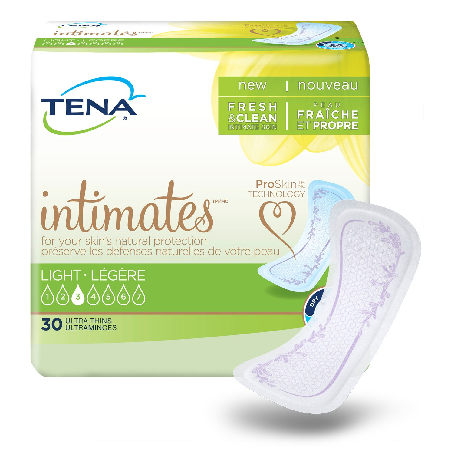 TENA Intimates Ultra Thin Light Pads Regular 30 Count (Pack of 3) product image