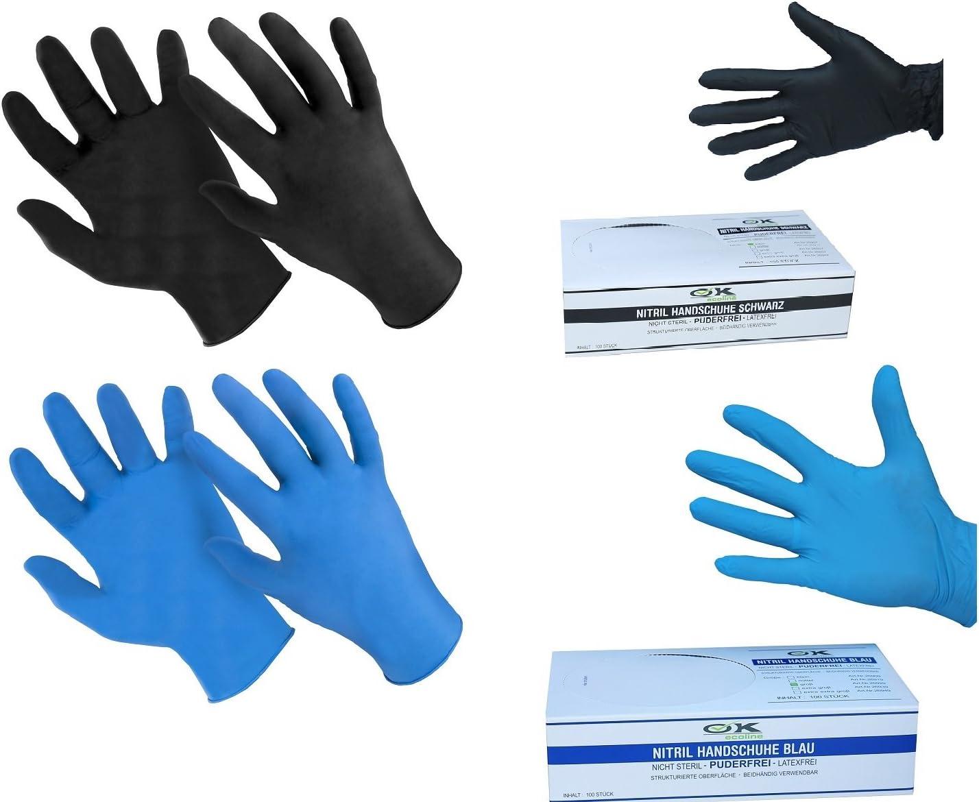 100 St/ück puderfrei antiallergisch Medium verschlei/ßfest Blau latexfrei Hseamall Einweghandschuhe Nitril 100