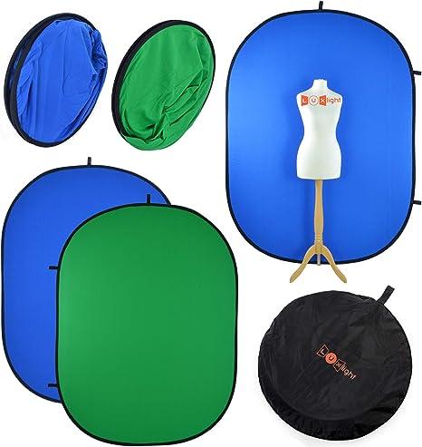 Todo para el streamer: Telón de Fondo de Pantalla Azul y Verde Chromakey | 1,5 x 2 m | Luxlight | Plegable y Reversible | Fondo 100% algodón para Video y fotografía | Green Screen