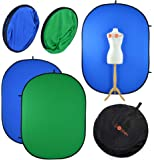 Photography Backdrop Chromakey Green & Blue | Luxlight® | 150x200cm | Reversible Collapsible Muslin Pop Up Video Background | Vlogging Portrait YouTube Filming Backdrop Chroma Key