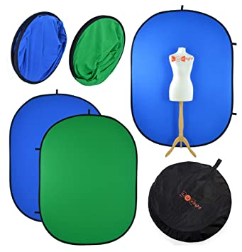 PhotoGeeks Fondo Chroma Key de2 mx 1,5 m, Verde y Azul, Reversible, Plegable, 100% algodón de Muselina, para fotografías