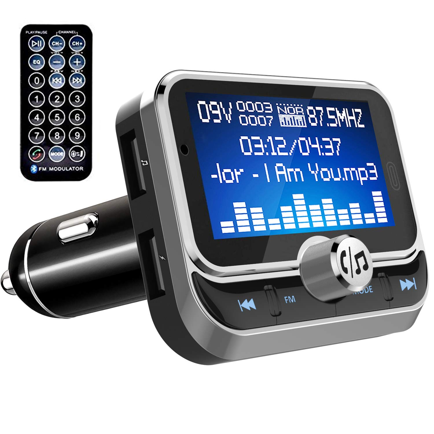 Zintou Bluetooth FM Transmitter for Car,1.8'' Large Display Wireless Radio Adapter Music Player Car Kit with Remote Control,Fast Charger,4 Music Play Modes,Hands Free,AUX Input&Output - BC32RC Silver