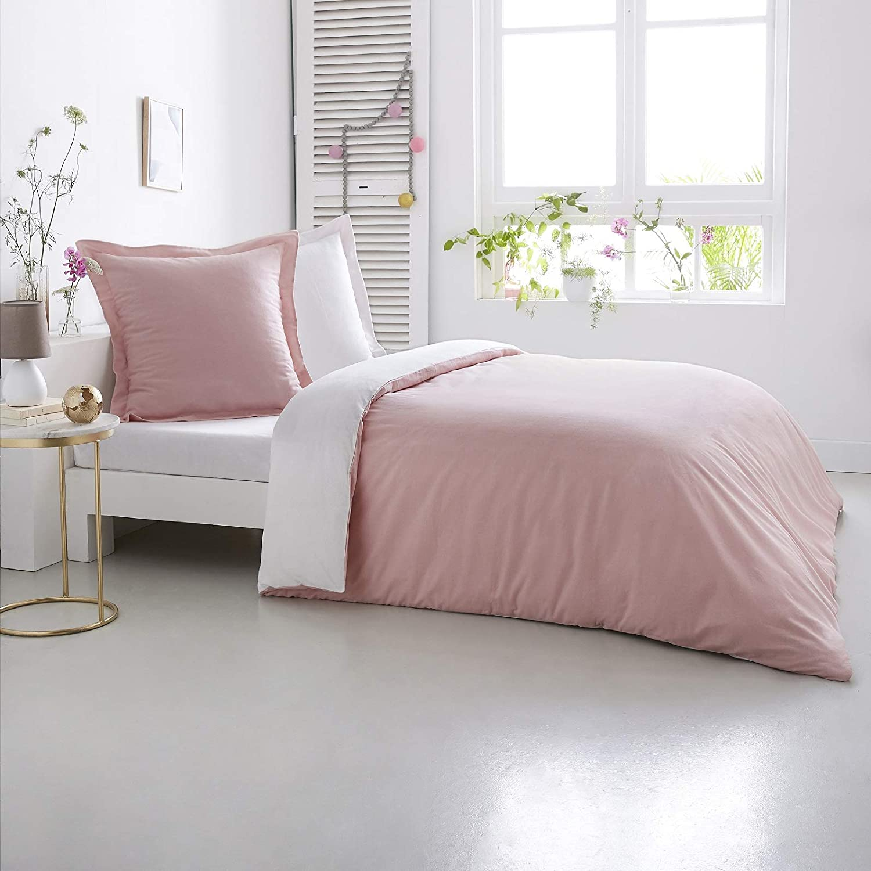 Home Linen Bettwäsche aus Baumwollflanell, zweifarbig, 260 x 240 cm, 2 Kopfkissenbezüge 65 x 65 cm, Rosa Weiß