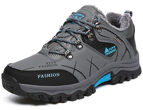 YITU Hombre Otoño Invierno Botines Calentar Botas De Nieve Anti Deslizante Lazada Zapatos Botas de Trabajo 39 47