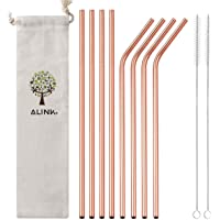 "ALINK Stainless Steel Straws, 10.5"" Long Reusable Replacement Metal Straws for 20 30 OZ Yeti Tumbler, RTIC, Tervis, Ozark Trail, Starbucks, Mason Jar, Set of 8 with Cleaning Brush, Rose Gold"