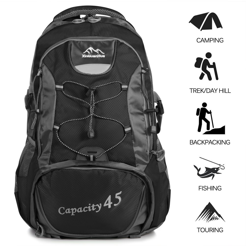 TTWO Hiking Backpack Outdoor Sports 45L Lightweight Packable Mountaineering Daypack for Camping Traveling Climbing (Black)