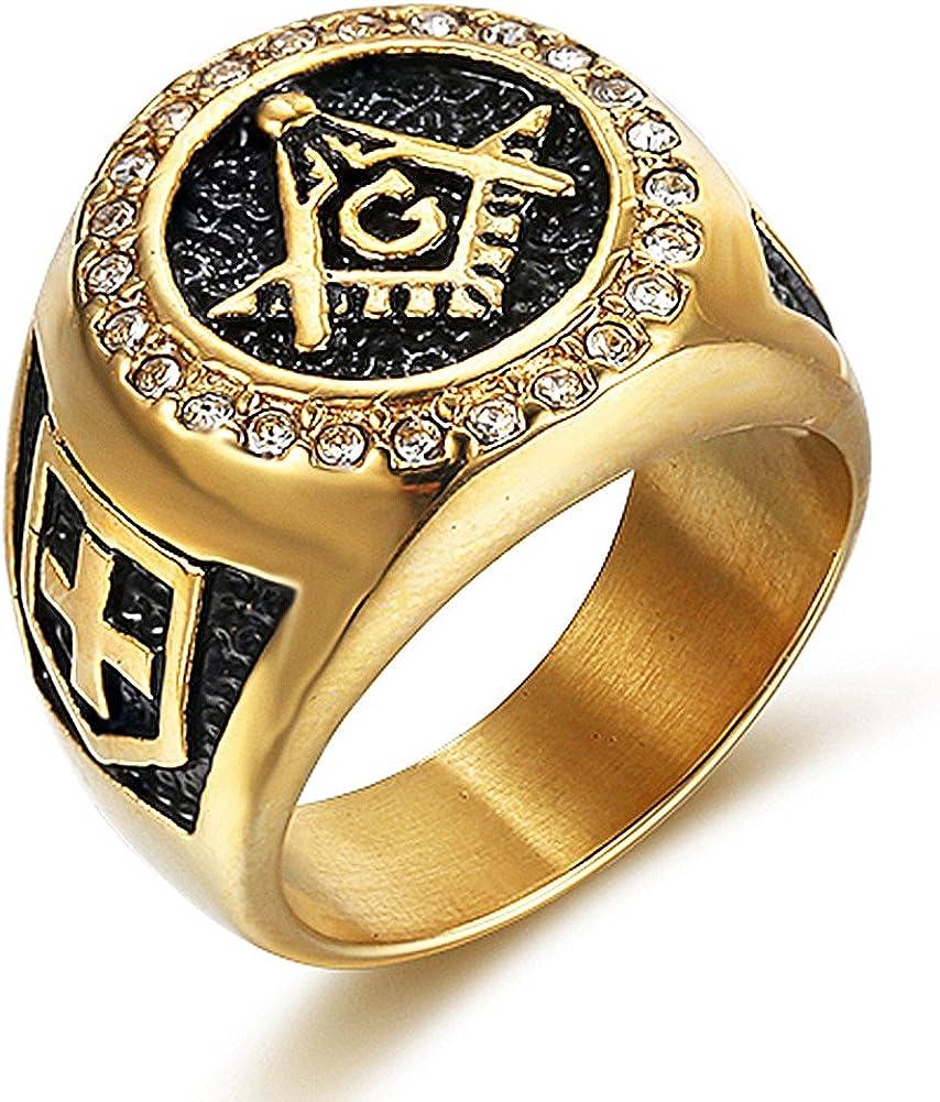 Men's Retro Vintage 18K Gold-Plated CZ Zirconia Setting Stainless Steel Masonic Ring Size 7-15