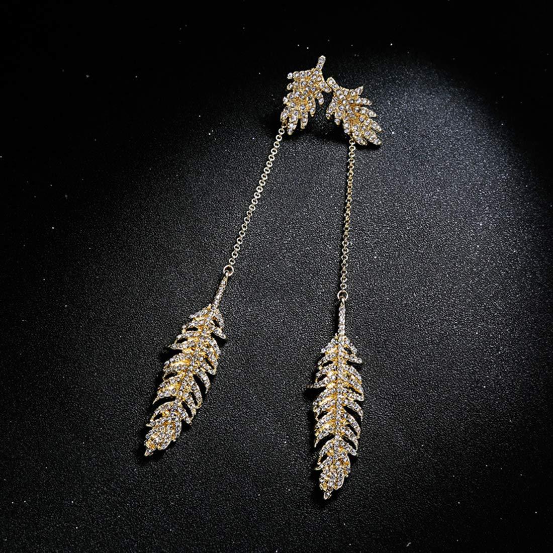 JuSir Crystal Leaves Bohemia Dangle Earring Long Eardrop Stud Earring