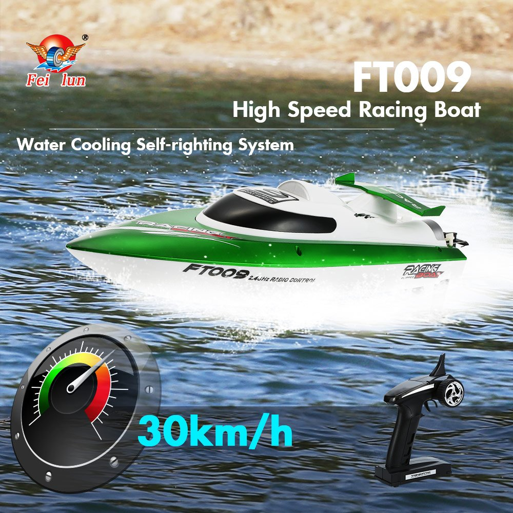 Cigooxm Original Feilun FT009 2.4G 30km/h High Speed RC Racing Boat with Water Cooling Self-righting System Toy Gift