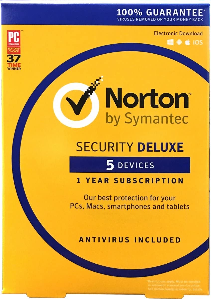 NORTON BY SYMANTEC SECURITY DELUXE ANTIVIRUS 5 DEVICES FOR 1 YEAR