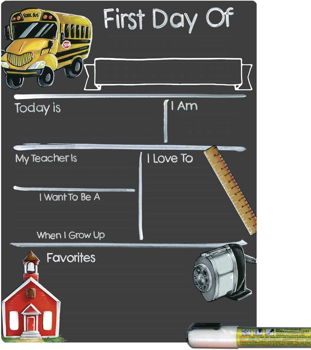 Cohas First Day of School Milestone Board with Schoolhouse Theme and Reusable Chalkboard Style Surface, 9 by 12 Inches, White Marker