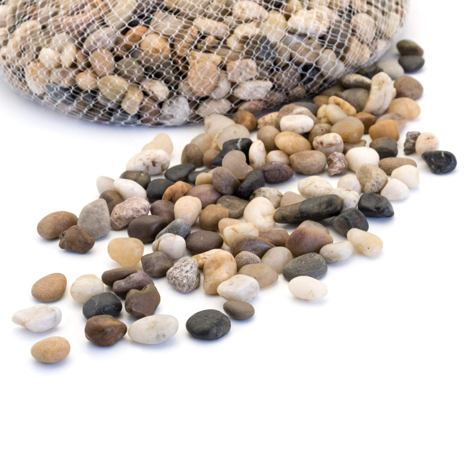 Royal Imports 5lb Small Decorative Ornamental River Pebbles Rocks for Fresh Water Fish Animal Plant Aquariums, Landscaping, Home Decor etc. with Netted Bag, Natural