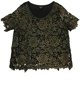 Simply Emma Womens Black   Gold Floral Lace Blouse Tank Top Shirt ...