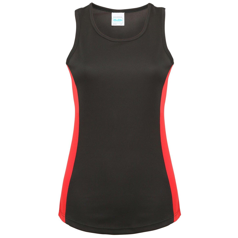 Awdis- Camiseta de tiranes de deporte con franjas de diferente color para mujer (Mediana (M)/Negro/Rojo intenso) UTRW3478_27