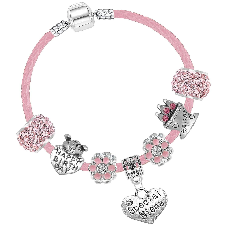 Special Niece Pink Leder Geburtstag Charme Armband Geschenkbox Geburtstag Karte Charm Buddy ®