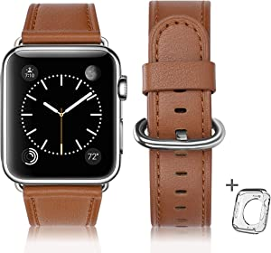 Leather Bands Compatible with Apple Watch Band 38mm 40mm 42mm 44mm, Top Grain Leather Smart Watch Band Compatible for Men Women iWatch Series6/5/4/3/2/(Brown + silver buckle, 38mm 40mm)