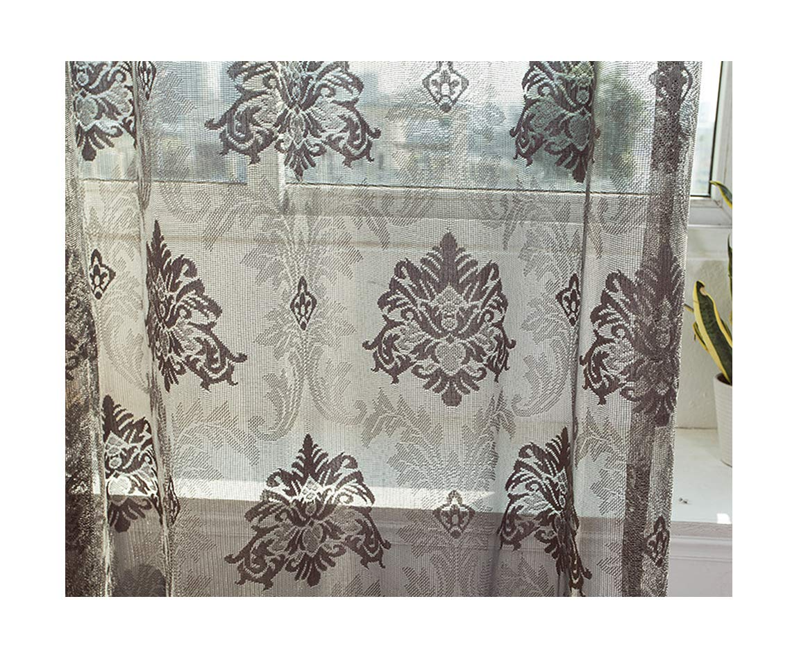 ASide BSide Sheer Curtains Panels Rod Pockets England Style Lace Jacquard Voile Home Treatment For Sitting Room Kitchen and Children Room (1 Panel, W 52 x L 95 inch, Grey)