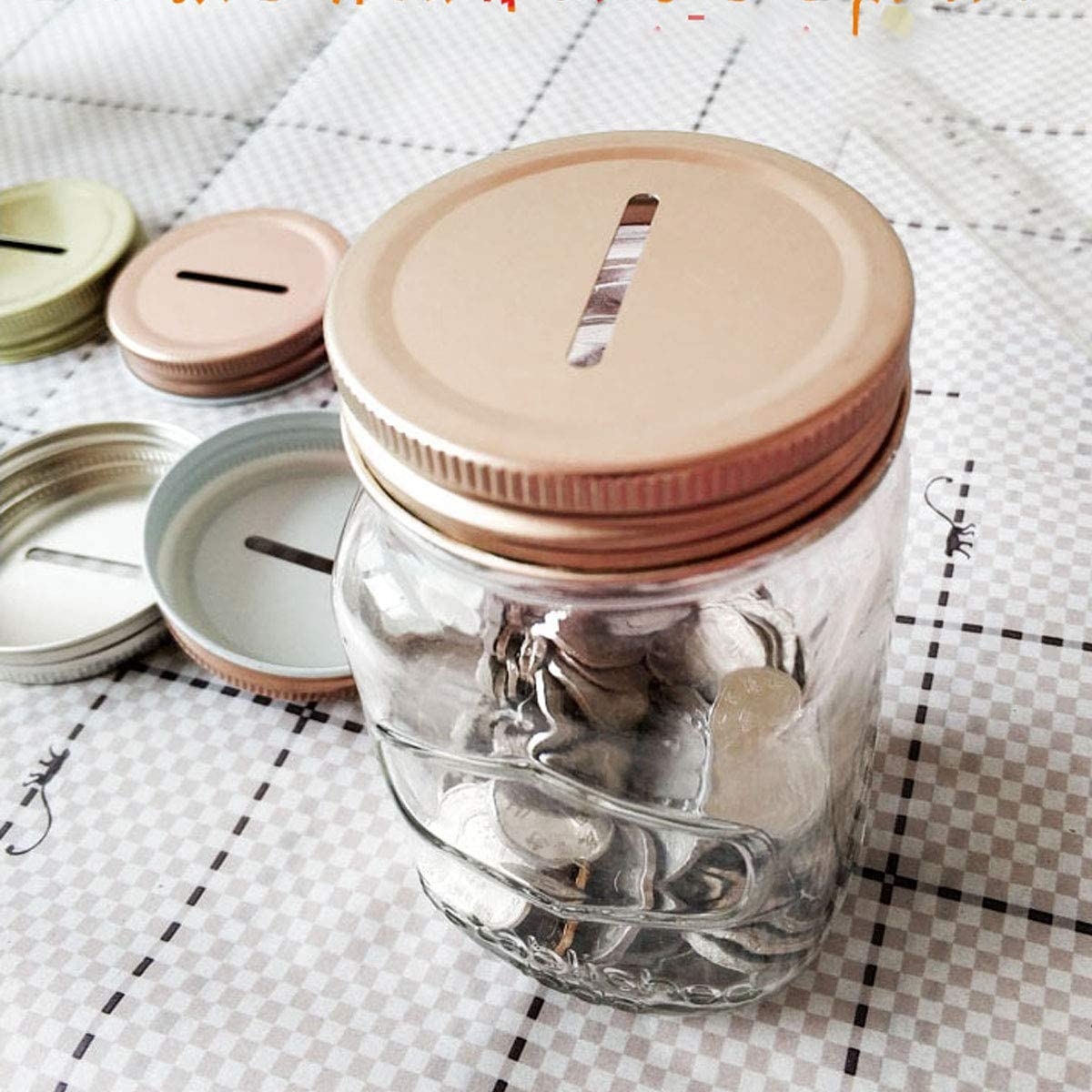 TiaoBug 8Pcs Polished Rust Resistant Coin Slot Bank Lid Inserts Stainless Steel Polished Rust Resistant Mason Ball Canning Jars Lid Change Bill Storage Jars Lid 70mm Inner Diameter Rose One Size