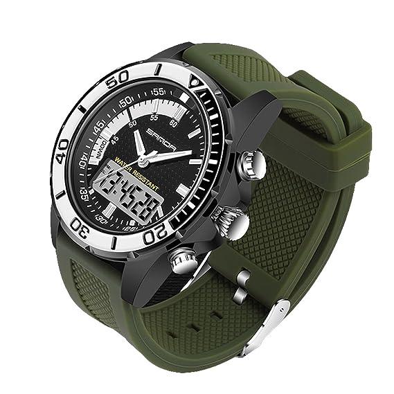 Hombres Sport reloj, digital analógico Dual Time pantalla con correa de silicona alarma fecha muñeca relojes: Amazon.es: Relojes