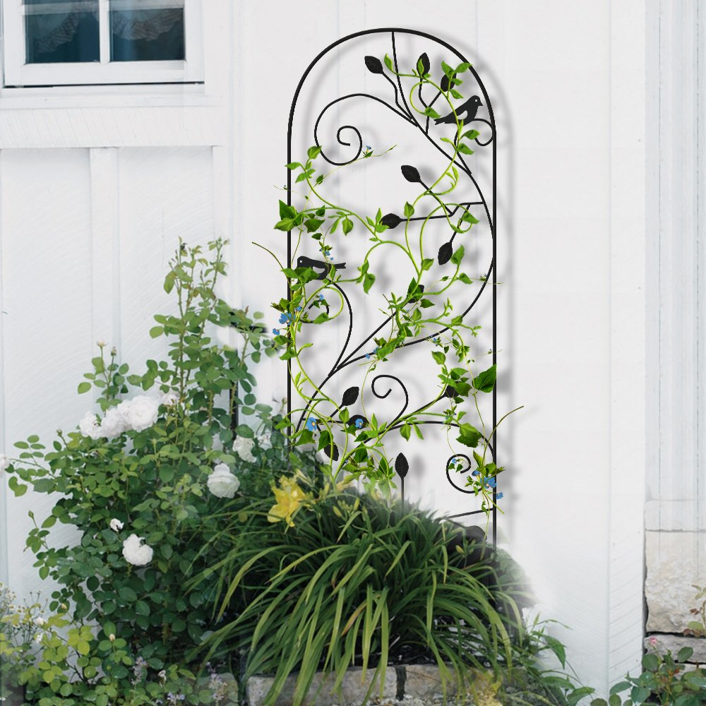 Amagabeli Garden Trellis for Climbing Plants 46'' x 15'' Rustproof Black Sturdy Iron Potted Support Vines Vegetable Flower Patio Metal Wire Lattices Grid Trellises for Ivy Roses Grape Cucumber Clematis by AMAGABELI GARDEN & HOME (Image #6)