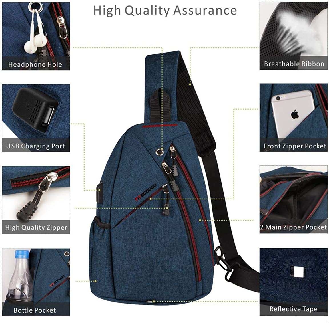 TITECOUGO Sling Bag Tactile and Tough Travel Shoulder Bags with USB Charge Port
