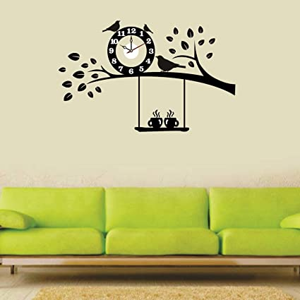 Syga Black Tree And Bird PVC Vinyl Wallpaper With Wall Clock 35 Cm X 17