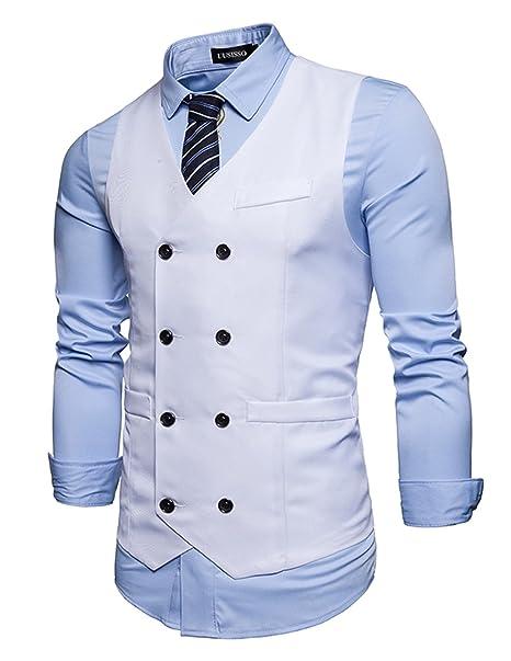 UUAISSO Hombre Doble Botones Blazers Traje Sin Manga Formal Negocios Slim  Fit Blanco M  Amazon.es  Ropa y accesorios 1a294c29117b