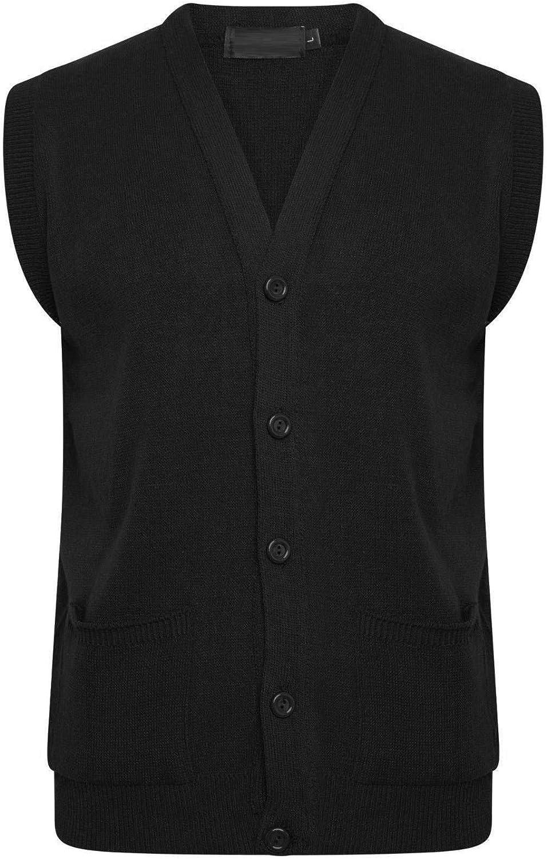 Mens Classic Sleeveless Button UP Cardigan Knitwear Pockets Granddad Sweater Tops