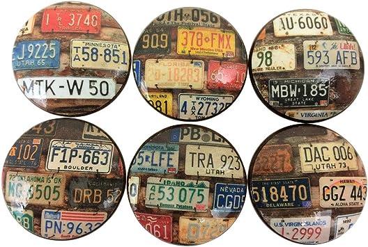Set of 6 License Plate Print Cabinet Drawer Knobs