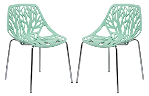 LeisureMod Modern Asbury Dining Side Chair with Chromed Legs in Mint Set of 2