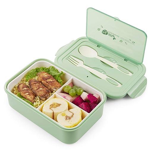 Thousanday Fiambrera para Microondas| Lunch Box Azul 2 Cubiertos ...