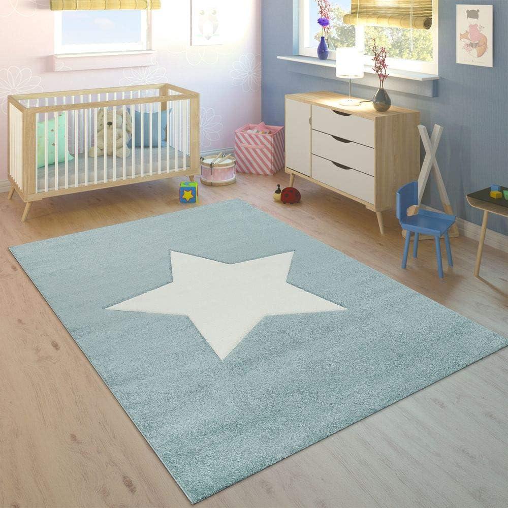Dimension:120x170 cm Tapis Enfant Chambre Gar/çons Filles Moderne Grosse /Étoile Pastel Bleu Blanc