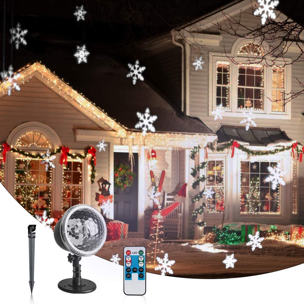 Vanthylit Remote Controlled Multi-Function Rotating Snowflake Projector Light for Xmas Moving Snowflake Points Landscape Lights for Home Yard Garden Wedding Show Club Pub